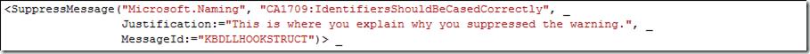 suppressMessageJustification